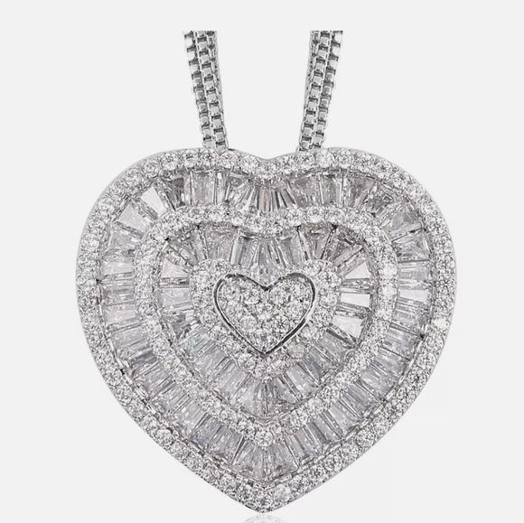 White Cubic Zirconia CZ Triple Strand Heart Chain Pendant Necklace for Women 20/""